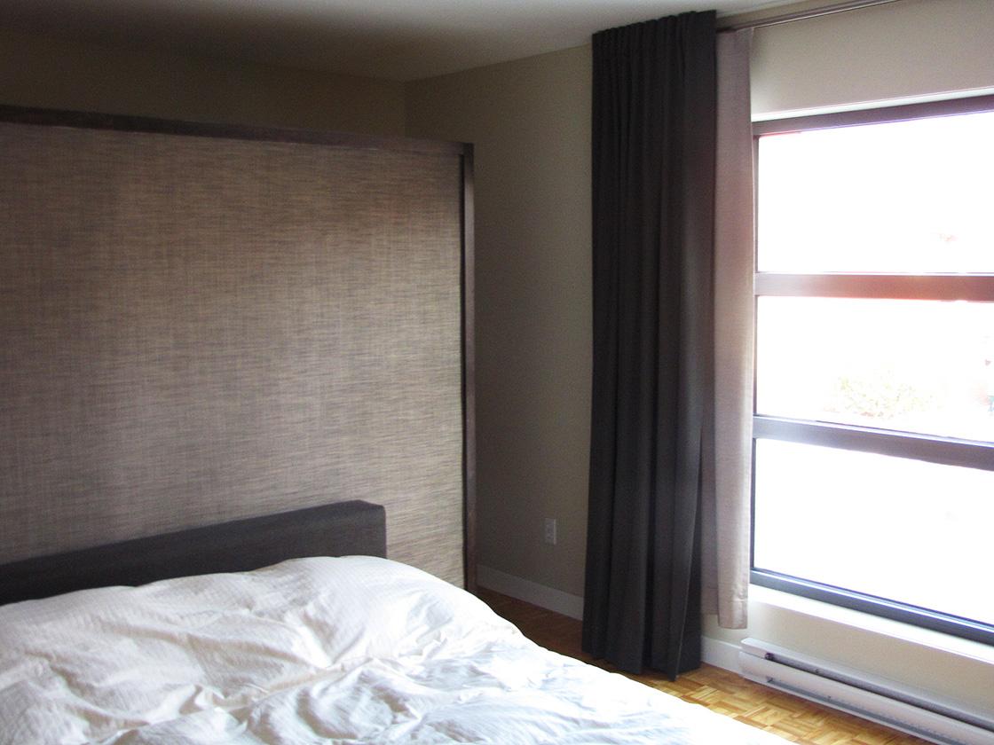 Conception murale, rembourrage tête de lit et habillage de fenêtre